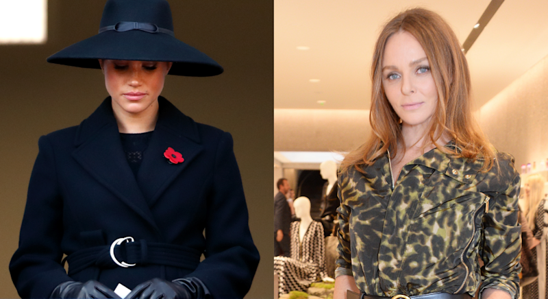 Stella McCartney (right) shared an Instagram post about Meghan Markle's coat. (Photos: Getty)