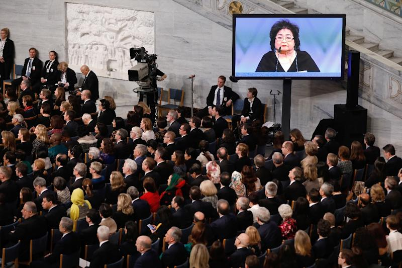 Setsuko Thurlow told the audience at the Nobel Peace Prize ceremony of how she survived the atomic bombing of Hiroshima in 1945 (AFP Photo/Odd ANDERSEN)