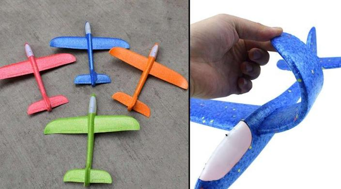 These toy planes are perfect for throwing around the backyard and are durable enough for everyday use.