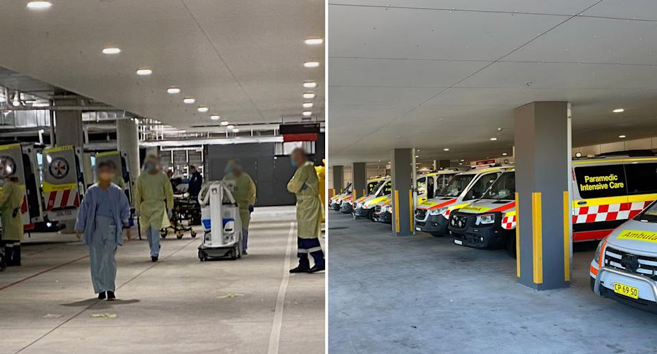 Photos shared by the NSW paramedic union show delays at Westmead Hospital (left) with staff wheeling out an X-ray machine, and St George Hospital (right) in Sydney. Source: APA/Twitter