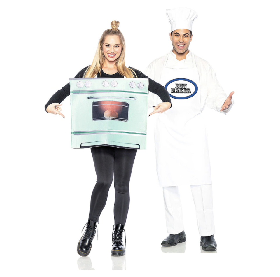 """<p><strong>See All Funny Costumes</strong></p><p>partycity.com</p><p><strong>$39.99</strong></p><p><a href=""""https://go.redirectingat.com?id=74968X1596630&url=https%3A%2F%2Fwww.partycity.com%2Fadult-chef-and-bun-in-the-oven-couples-maternity-costumes-P855780.html&sref=https%3A%2F%2Fwww.delish.com%2Fholiday-recipes%2Fhalloween%2Fg21763230%2Fbest-friend-halloween-costumes%2F"""" rel=""""nofollow noopener"""" target=""""_blank"""" data-ylk=""""slk:BUY NOW"""" class=""""link rapid-noclick-resp"""">BUY NOW</a></p><p>Baby on the way? Dress up for the occasion!</p>"""