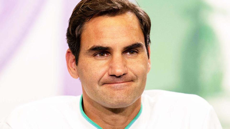 Roger Federer (pictured) at a Wimbledon press conference.