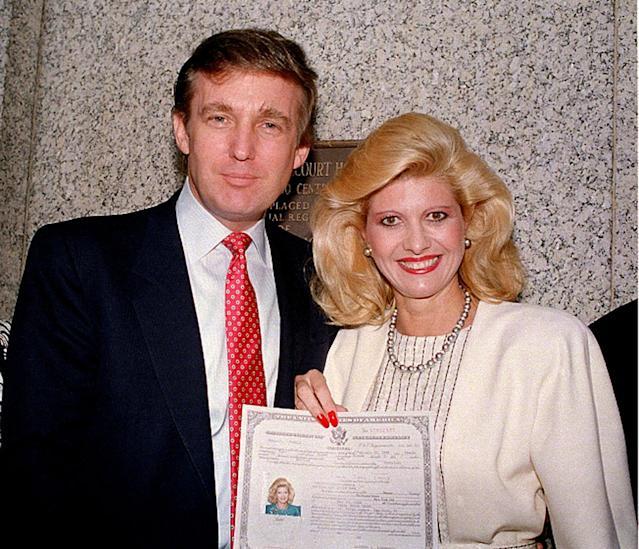 <p>Trump and first wife Ivana pose outside the federal courthouse after she was sworn in as a United States citizen on May 1988. <i>(Photo: AP)</i> </p>