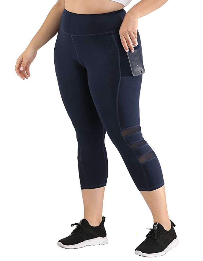 """These <a href=""""https://amzn.to/2XTDXjn"""" target=""""_blank"""" rel=""""noopener noreferrer"""">high-waisted cropped yoga pants</a> include a tummy-control waist panel and a pocket that you can use to store your phone or keys while running errands. They're made with nylon and rayon, so they're stretchy enough for squats and lounging.<br /><br /><strong>Sizes:</strong> These yoga pants come in sizes XL to 4X.<br /><strong>Rating:</strong> They have a 4.1-star rating over more than 500 reviews.<br /><strong>$$$:</strong> <a href=""""https://amzn.to/2XTDXjn"""" target=""""_blank"""" rel=""""noopener noreferrer"""">Find them starting at $20 on Amazon</a>."""