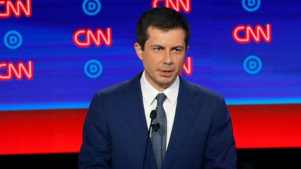 PHOTO: South Bend Mayor Pete Buttigieg participates in the first of two Democratic presidential primary debates, July 30, 2019, at the Fox Theatre in Detroit. (Paul Sancya/AP)