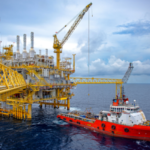Oil Rig with Offshore Support Vessel
