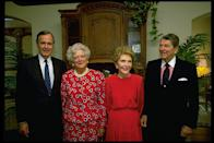 <p>The Reagans reunited with the Bushes at the 1992 Republican National Convention. </p>