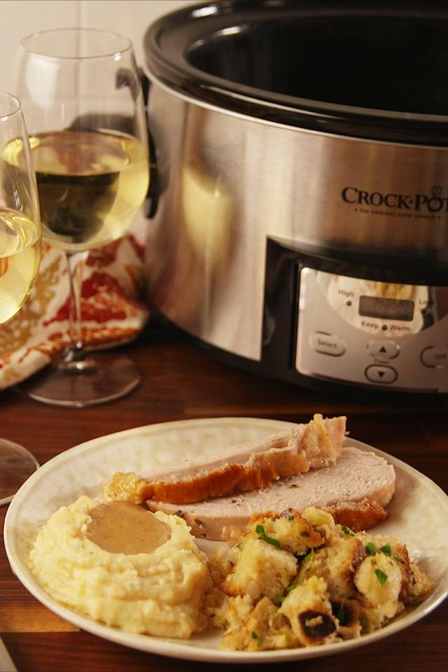 """<p>No stress stuffing.</p><p>Get the recipe from <a rel=""""nofollow"""" href=""""https://www.delish.com/cooking/recipe-ideas/recipes/a56716/crock-pot-stuffing-recipe/"""">Delish</a>.</p><p><strong><em><a rel=""""nofollow"""" href=""""https://www.amazon.com/Crock-Pot-Multi-Use-Programmable-Stainless-SCCPPC600-V1/dp/B074PHL51Y"""">BUY NOW</a> Six-Quart Crock-Pot, $69, amazon.com</em></strong></p>"""
