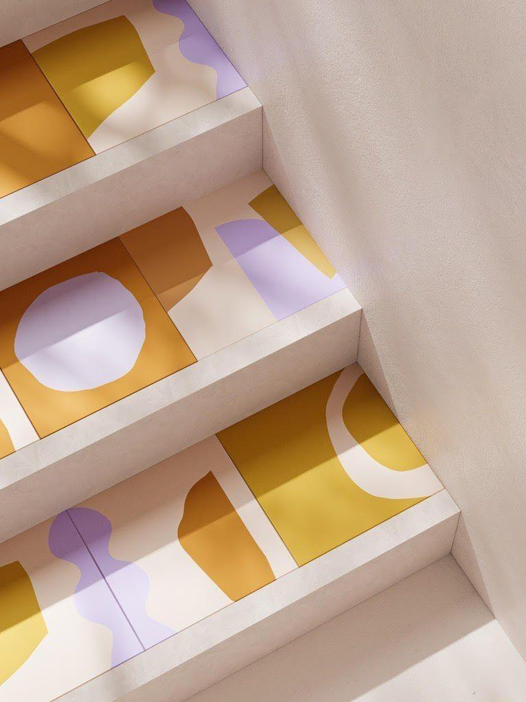 """<p>The bold decorator leaves no surface unconsidered, so why not try patterned tiles on your stairs? It's a tad unexpected and will brighten up what is often an overlooked – and yet heavily trafficked – part of the home. These sunny examples are part of the Aurora collection by surface designer Alex Proba for Concrete Collaborative. £94 for a box of 13 tiles, <a href=""""https://www.concrete-collaborative.com/interiortiles"""" rel=""""nofollow noopener"""" target=""""_blank"""" data-ylk=""""slk:concrete-collaborative.com"""" class=""""link rapid-noclick-resp"""">concrete-collaborative.com</a>; <a href=""""http://www.studioproba.com/"""" rel=""""nofollow noopener"""" target=""""_blank"""" data-ylk=""""slk:studioproba.com"""" class=""""link rapid-noclick-resp"""">studioproba.com</a></p>"""