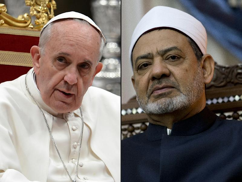 Pope Francis (left) received the spiritual leader of the world's Sunni Muslims, Sheikh Ahmed al-Tayeb, at the Vatican