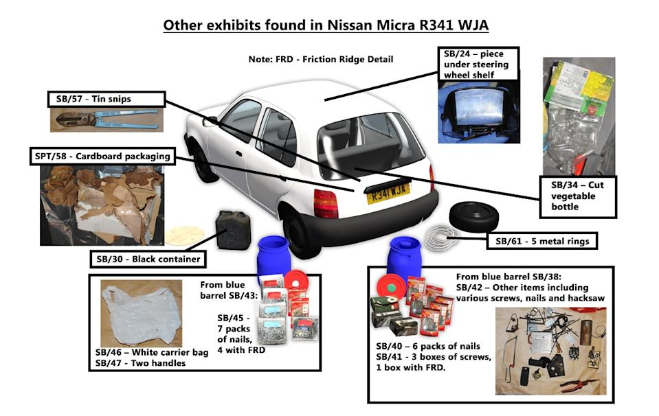 The Nissan Micra parked up in the Rusholme area of Manchester was found to contain traces of homemade explosive TATP. (PA/GMP)