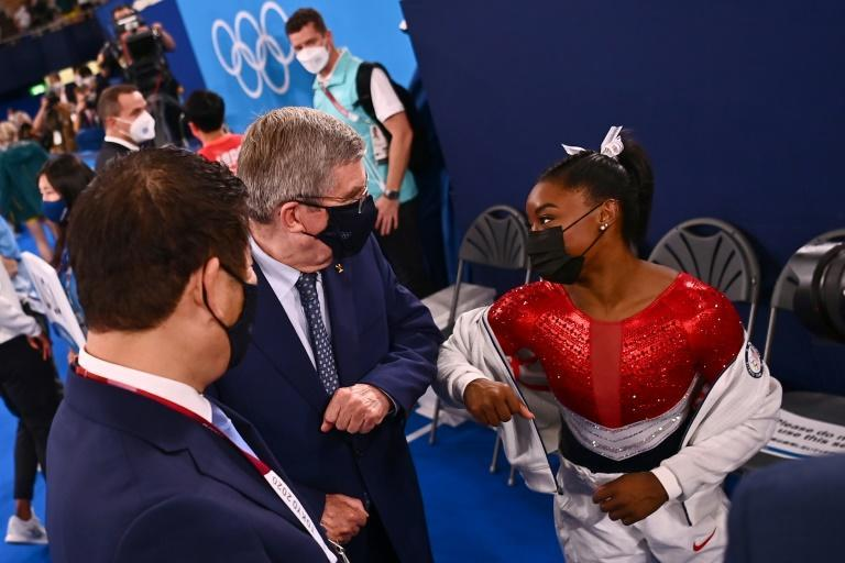 Simone Biles spoke to IOC president Thomas Bach after her team won silver in the team final in which she barely participated
