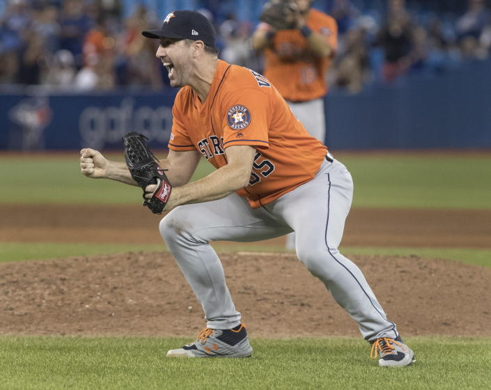 Houston Astros starting pitcher Justin Verlander reacts after pitching a no-hitter against the Toronto Blue Jays in a baseball game in Toronto, Sunday, Sept. 1, 2019. (Fred Thornhill/The Canadian Press via AP)