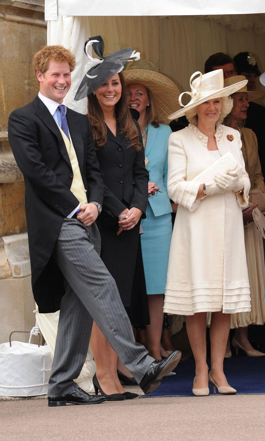 <p>Prince Harry, Kate, and Duchess Camilla all laughed as they watched the Order of the Garter procession at Windsor Castle. Prince Harry and Kate had a sibling-like bond since the beginning.</p>