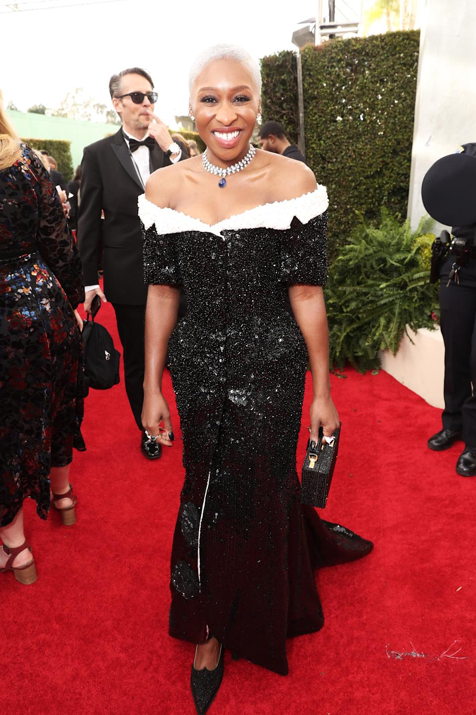 "<h1 class=""title"">Cynthia Erivo in Thom Browne and Bulgari and Maria Tash jewelry</h1><cite class=""credit"">Photo: Getty Images</cite>"
