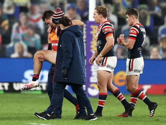 Verrills had to be carried from the field after injuring his knee (Getty)