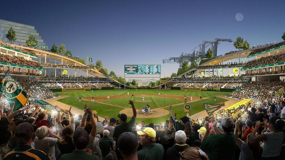 An inside view of the proposed A's stadium in Oakland. (Athletics)