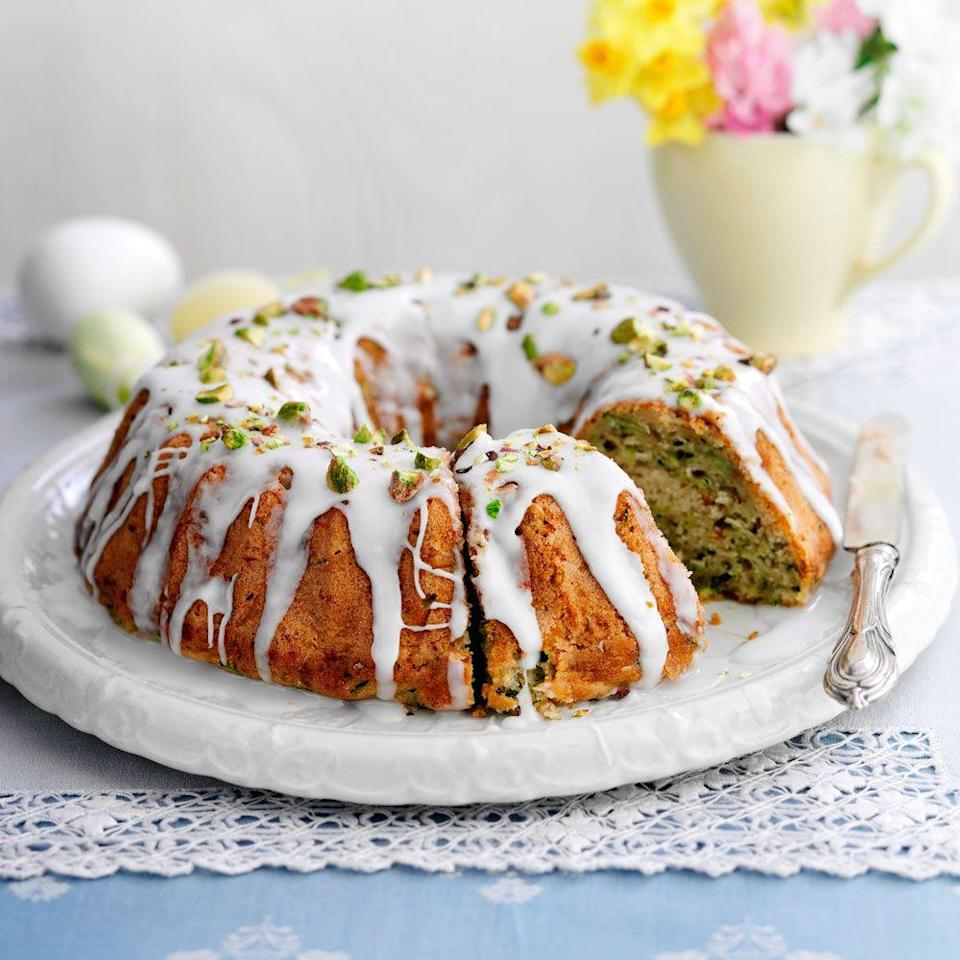 """<p>This delicious courgette cake recipe will take just over an hour to make.</p><p><strong>Recipe: <a href=""""https://www.goodhousekeeping.com/uk/food/recipes/a535359/courgette-cake/"""" rel=""""nofollow noopener"""" target=""""_blank"""" data-ylk=""""slk:Courgette Cake"""" class=""""link rapid-noclick-resp"""">Courgette Cake</a></strong></p>"""