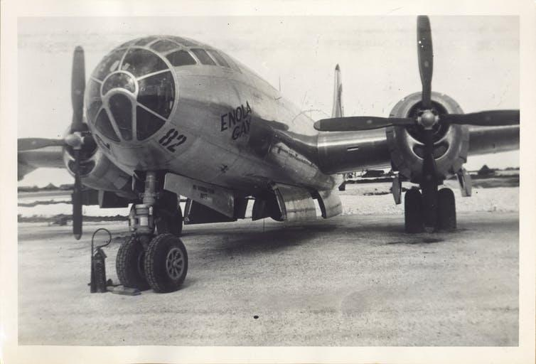 Enola Gay, US bomber, dropped first atom bomb to end the second world war.