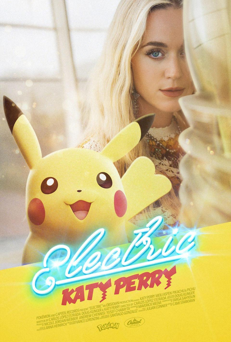 """Pikachu and Katy Perry on the """"Electric"""" poster."""