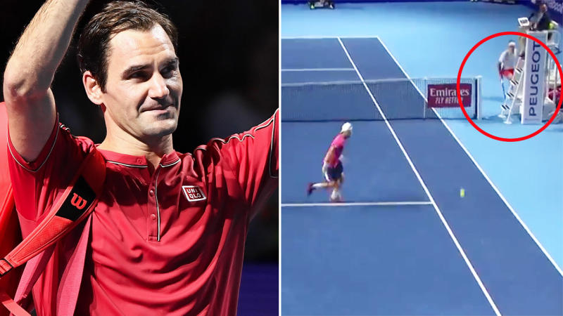 Roger Federer, pictured here hitting an insane winner at the Swiss Indoors in Basel.