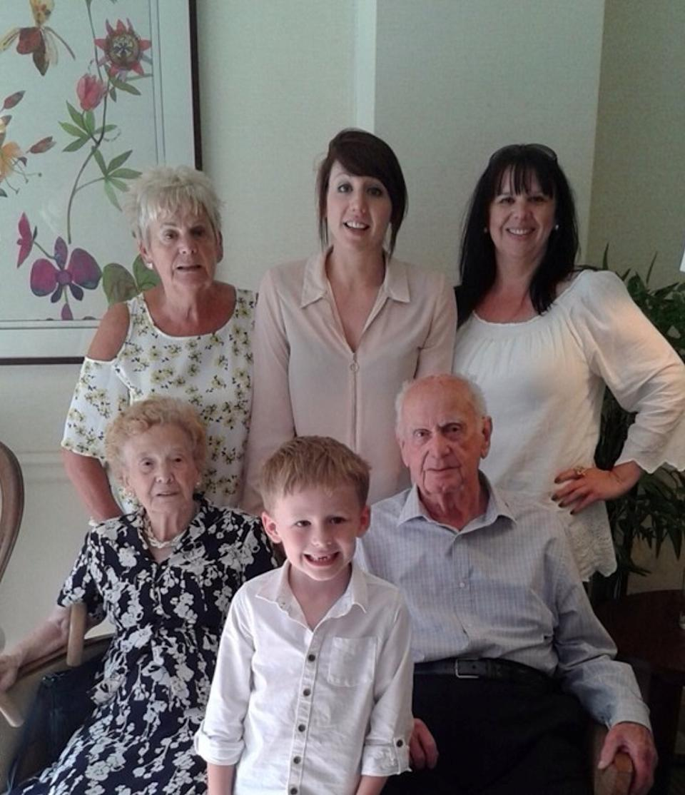 "Five generations of the Golightly family. Ron and Beryl, daughter Sue, granddaughter Vicky, great granddaughter Laura and great great grandson Mason. See SWNS story SWLEcouple; A husband and wife who met in their teens have become one of Britain's longest married couples after they celebrated their 80th wedding anniversary. Ron Golightly met his beloved Beryl when he was just 16 when one of his pals wolf-whistled at his future wife's friends as they walked past the group in the street. A 14-year-old Beryl turned round to see what was going on and instantly fell in love with Ron's curly hair and cheeky smile and the pair have been inseparable ever since. Beryl, now 98, said of Ron, now 100: ""I just knew as soon as I saw him I was going to marry him. ""I was 14 and Ron was 16, it was very much love at first sight. ""A couple of days later we spoke again and went for a walk, we were more or less a couple straight away. ""I thought he had whistled at me and I just fell in love with his cheeky grin straight away."" The couple tied the knot in their hometown of Harrogate, North Yorks., in 1941 while Ron, who served in the Brigadier Guards, was on leave from the Army during World War II."