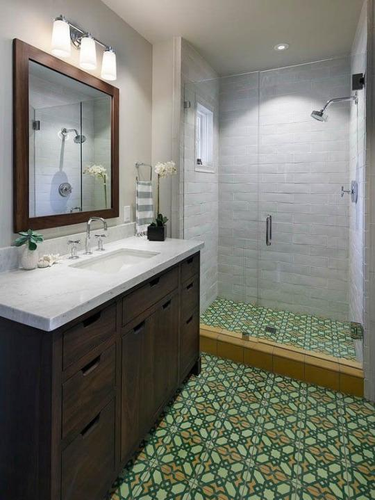 """<p><b><b>Top 2016 Trend: </b>Encaustic tiles</b><br></p><p>These intricate patterned tiles get their coloring from different types of clay rather than glaze, and can be used to create a beautiful, natural-looking focal point. Expect to see encaustic tiles pop up in a variety of rooms throughout the house in 2016, including kitchen backsplashes, bathroom shower tiles, accent walls and even fireplace mantles. <i>Courtesy of <a href=""""http://www.zillow.com/digs/contemporary-3-4-bathrooms-5595408668/"""" rel=""""nofollow noopener"""" target=""""_blank"""" data-ylk=""""slk:Zillow Digs"""" class=""""link rapid-noclick-resp"""">Zillow Digs</a>.</i></p>"""