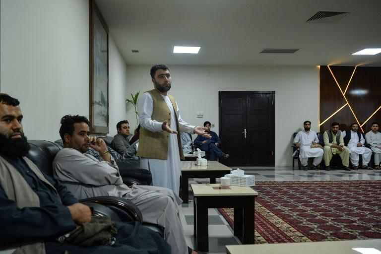 Merchant Abdul Latif Yousufzei in the office of the Herat Chamber of Commerce in Herat (AFP/Hoshang Hashimi)