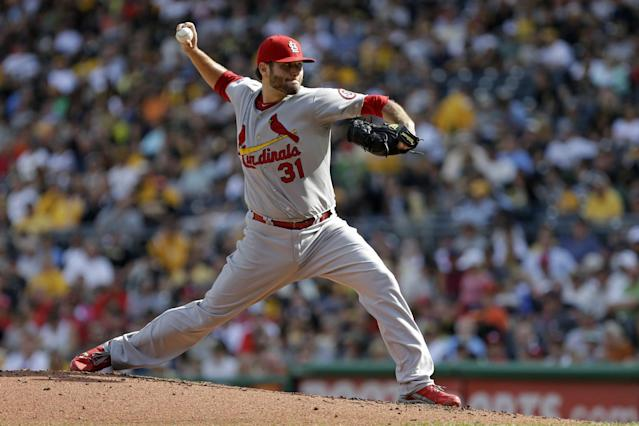 St. Louis Cardinals starting pitcher Lance Lynn delivers during the third inning of a baseball game against the Pittsburgh Pirates in Pittsburgh, Tuesday, July 30, 2013. (AP Photo/Gene J. Puskar)