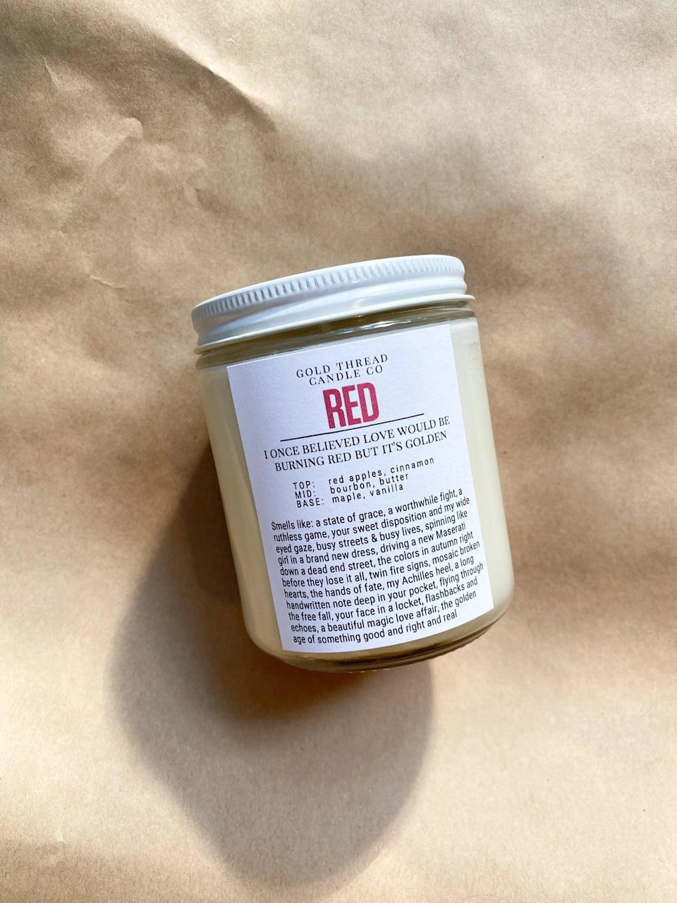 """<p>If the Swiftie in your life is embracing their <b>Red</b> era, they'll love this <span><b>Red</b> Candle</span> ($20). It smells like apple and maple bourbon. The seller has a ton of other candles inspired by <a class=""""link rapid-noclick-resp"""" href=""""https://www.popsugar.com/Taylor-Swift"""" rel=""""nofollow noopener"""" target=""""_blank"""" data-ylk=""""slk:Taylor Swift"""">Taylor Swift</a>'s other albums and specific songs as well!</p>"""
