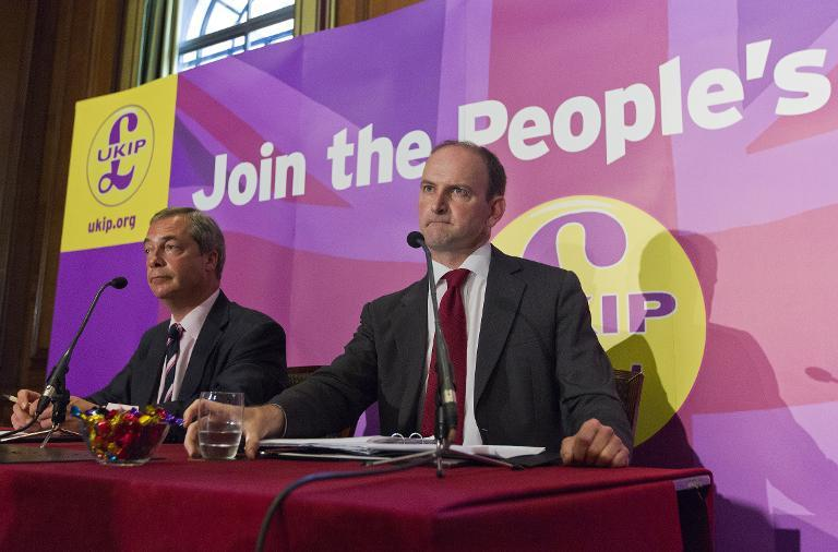 Defecting Conservative Party MP Douglas Carswell (R) addresses a press conference in central London on August 28, 2014 with UKIP leader Nigel Farage (L) (AFP Photo/Justin Tallis)