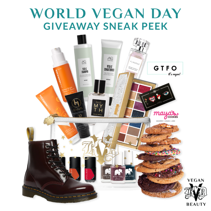 """KVD Vegan Beauty World Vegan Day """"Vegan Super Sweeps"""" Sneak Peek – 5 incredible giveaway bundles will be offered throughout the day featuring the brand's favorite beauty, fashion and lifestyle brand bundles – follow @KVDVegan Beauty on Instagram for the chance to win."""