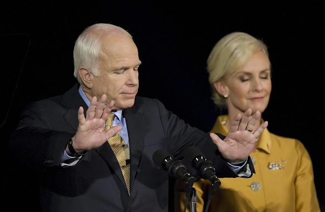 John McCain addresses supporters during his election night rally on Nov. 4, 2008, in his hometown of Phoenix. McCain conceded the race to his Democratic opponent, Barack Obama. (Photo: Jim Watson/AFP/Getty Images)