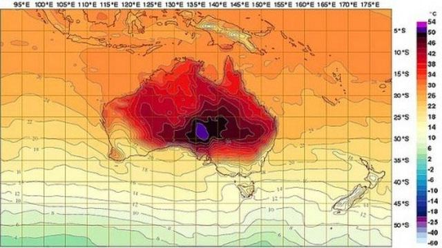 """Australia weather map adds new colors for record breaking heat (Image via Bureau of Meteorology)"""""""