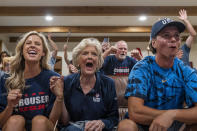 Cousin Haley Crouser, left, grandmother Marie Crouser, center, and brother Matt Crouser, right, watch with other friends and family as Ryan Crouser wins the gold medal at the shot put finals at the Tokyo Olympics, Wednesday, Aug. 4, 2021, in Redmond, Ore. (AP Photo/Nathan Howard)