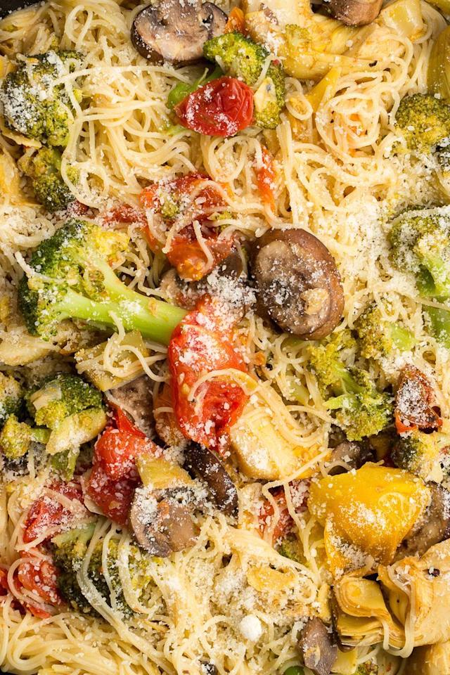 "<p>When in doubt, roast the <a href=""https://www.delish.com/uk/food-news/a29187765/how-to-keep-veg-fruit-fresh/"" target=""_blank"">vegetables</a>. It magnifies the flavour of anything—broccoli! mushrooms! cherry tomatoes!—tenfold. </p><p>Get the <a href=""https://www.delish.com/uk/cooking/recipes/a32014735/angel-hair-primavera-recipe/"" target=""_blank"">Angel Hair Primavera Pasta</a> recipe. </p>"
