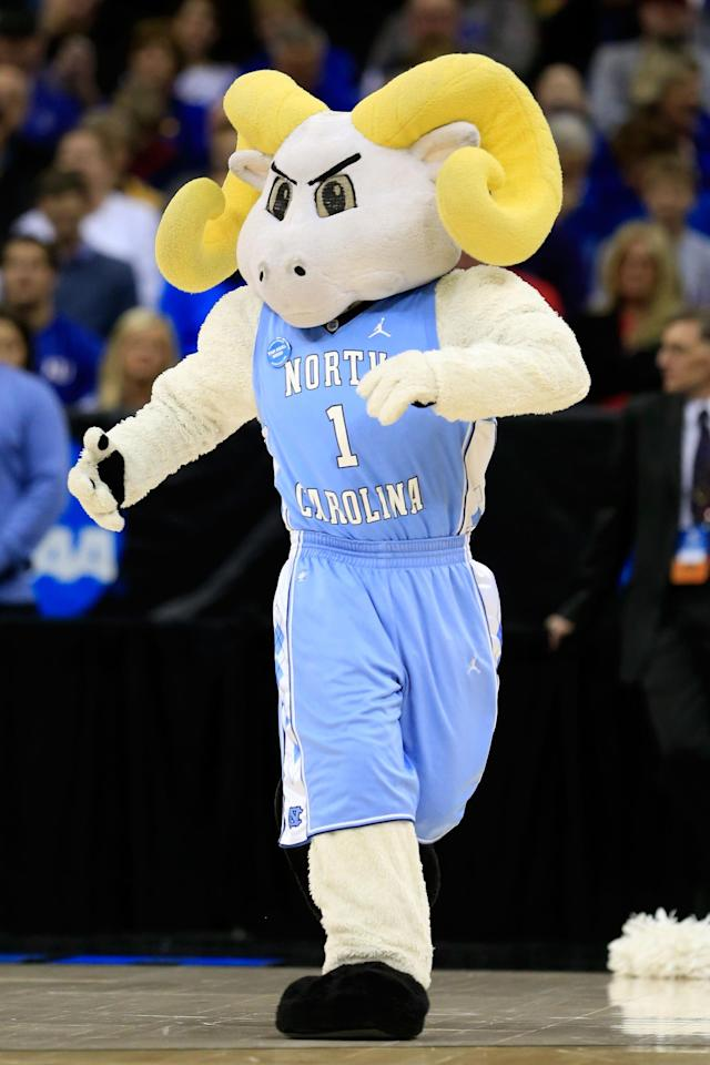 KANSAS CITY, MO - MARCH 22: Rameses, the mascot for the North Carolina Tar Heels, performs in the first half against the Villanova Wildcats during the second round of the 2013 NCAA Men's Basketball Tournament at the Sprint Center on March 22, 2013 in Kansas City, Missouri. (Photo by Jamie Squire/Getty Images)
