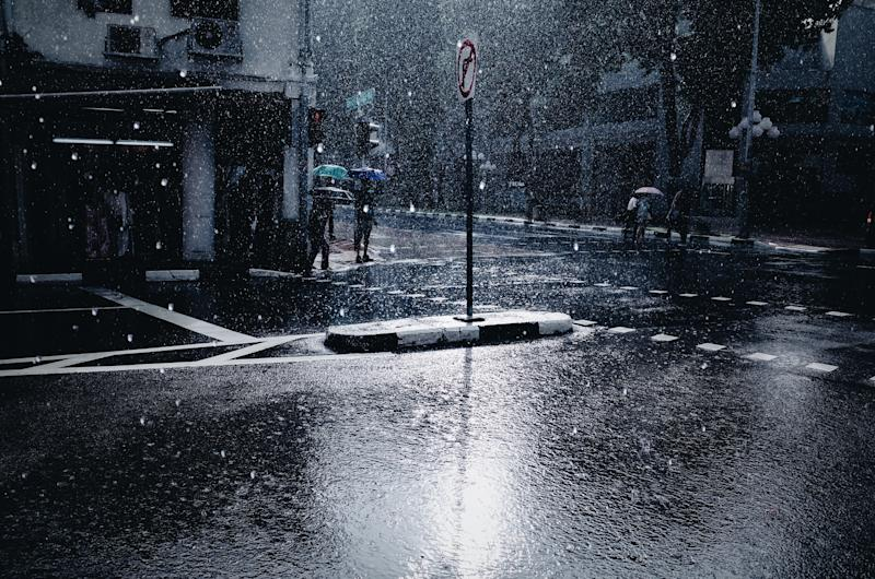 Wet Road In City During Winter