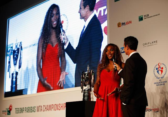 ISTANBUL, TURKEY - OCTOBER 20: Serena Williams of USA and Andrew Krasny speak at the Draw Ceremony during the previews of the TEB BNP Paribas WTA Championships at the Renaissance Polat Istanbul Hotel on October 20, 2013 in Istanbul, Turkey. (Photo by Dean Mouhtaropoulos/Getty Images)