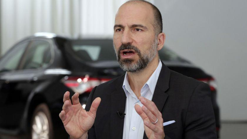 """Dara Khosrowshahi is CEO of Uber, which just helped make the Proposition 22 battle the most expensive initiative campaign in history. <span class=""""copyright"""">(Richard Drew / Associated Press)</span>"""