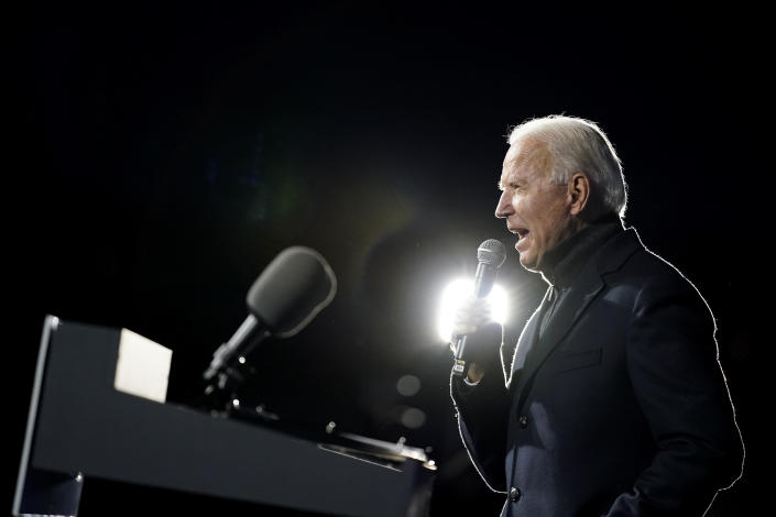Democratic presidential candidate former Vice President Joe Biden speaks during a drive-in campaign rally at Lexington Technology Park, Monday, Nov. 2, 2020, in Pittsburgh. (AP Photo/Andrew Harnik)