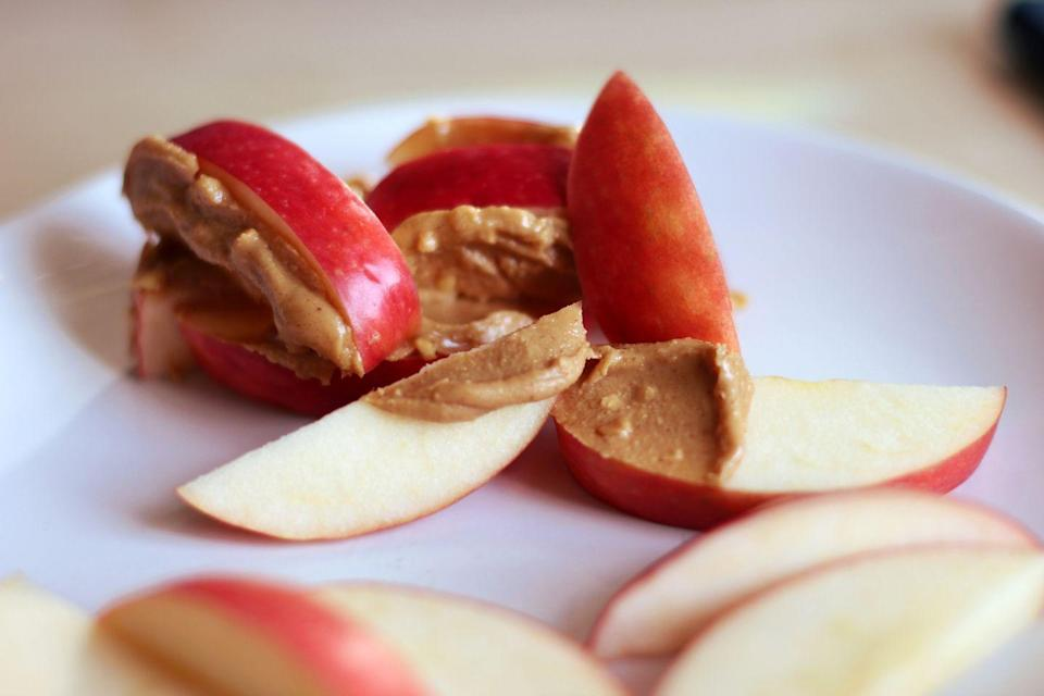 <p>Protein-packed peanut butter AND a serving of fruit. Your parents will be so proud!</p>