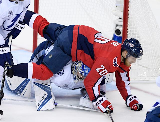 Washington Capitals center Lars Eller (20), of Denmark, falls over Tampa Bay Lightning goaltender Andrei Vasilevskiy, bottom, during the first period of Game 3 of the NHL Eastern Conference finals hockey playoff series, Tuesday, May 15, 2018 in Washington. (AP Photo/Nick Wass)