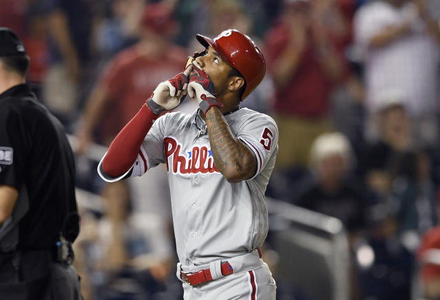 Philadelphia Phillies' Nick Williams celebrates his two-run home run during the fifth inning of a baseball game against the Washington Nationals, Sunday, June 24, 2018, in Washington. (AP Photo/Nick Wass)