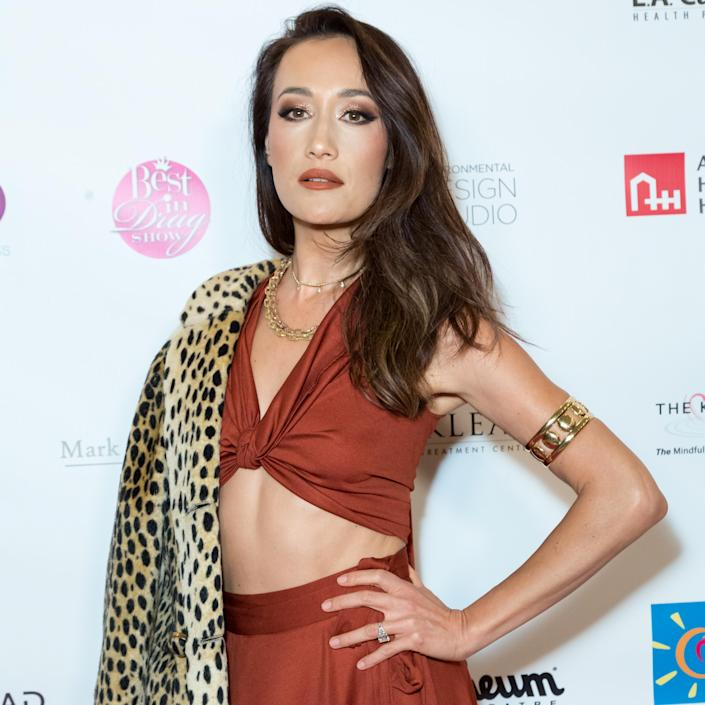 """Just to be clear: Animal prints are OK for Maggie Q. Fur is not. Even """"a little bit on the collar."""" (Photo: Greg Doherty/Getty Images)"""