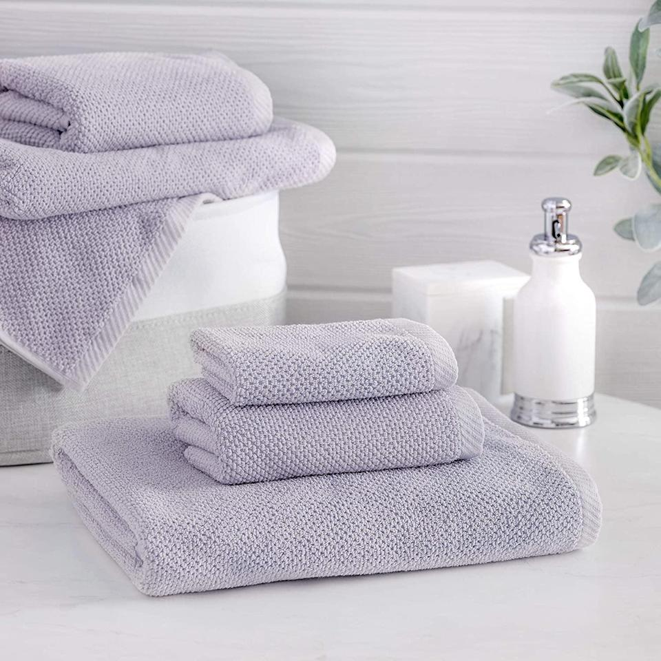 <p>The popular <span>Welhome Franklin Premium 100% Cotton 6 Piece Towel Set</span> ($40, originally $42) comes with two hand towels, two wash cloths, and two large bath towels. </p>