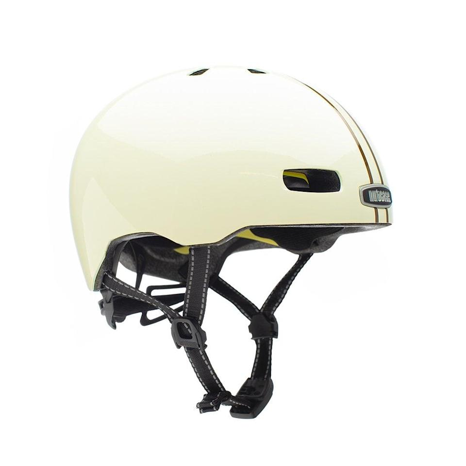 <p><span>Nutcase Helmets Leather Bound Stripe Gloss with MIPS</span> ($80)</p>