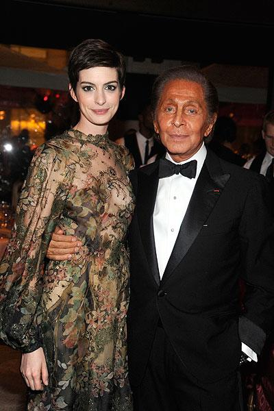 """Anne's good friend, designer Valentino Garavani told E! News at the event that he would be <a target=""""_blank"""" href=""""http://ca.shine.yahoo.com/anne-hathaway-wear-valentino-wedding-dress-023000555.html"""">designing the wedding dress</a> for Anne's upcoming wedding to fiancé Adam Shulman. Valentino said: """"She's a very good friend of mine. She's like my daughter!"""" We can't wait to see what that will look like! (Photo by Dimitrios Kambouris/WireImage)"""