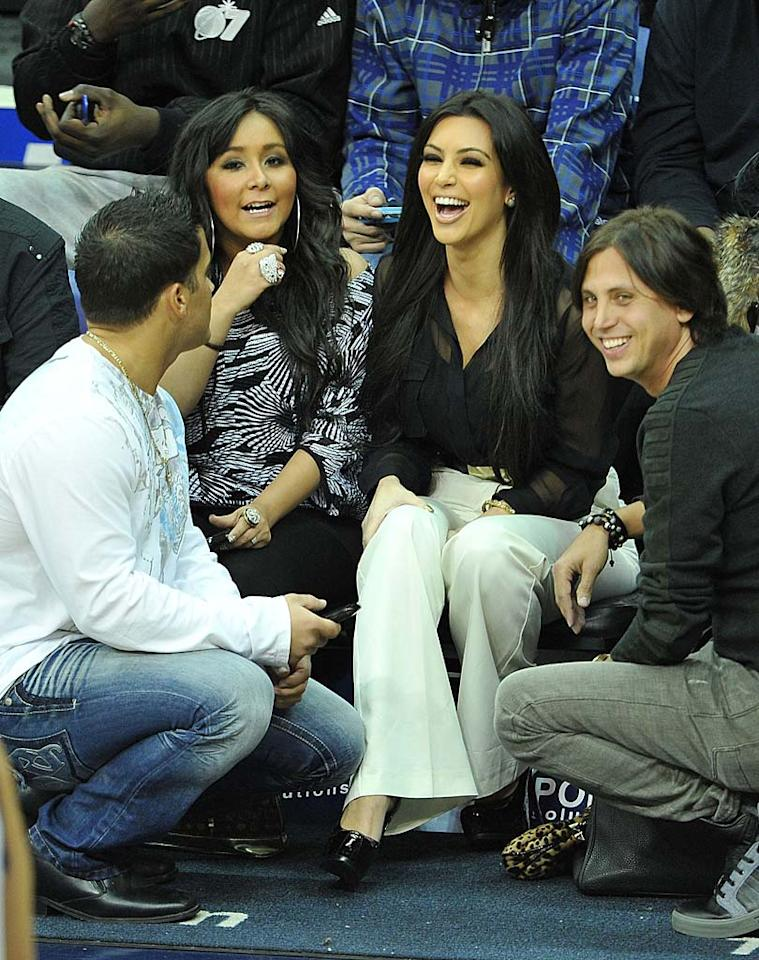 "It was a meeting of reality royalty when Nicole ""Snooki"" Polizzi and Kim Kardashian united courtside in Newark, New Jersey, to see Kim's new beau Kris Humphries and the New Jersey Nets take on the Dallas Mavericks. We would have loved to know what those two rapier-sharp minds were chatting about! James Devaney/<a href=""http://www.wireimage.com"" target=""new"">WireImage.com</a> - January 22, 2011"