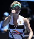 Ukraine's Elina Svitolina reacts after winning a point against China's Zhang Shuai during their third round match at the Australian Open tennis championships in Melbourne, Australia, Saturday, Jan. 19, 2019. (AP Photo/Andy Brownbill)